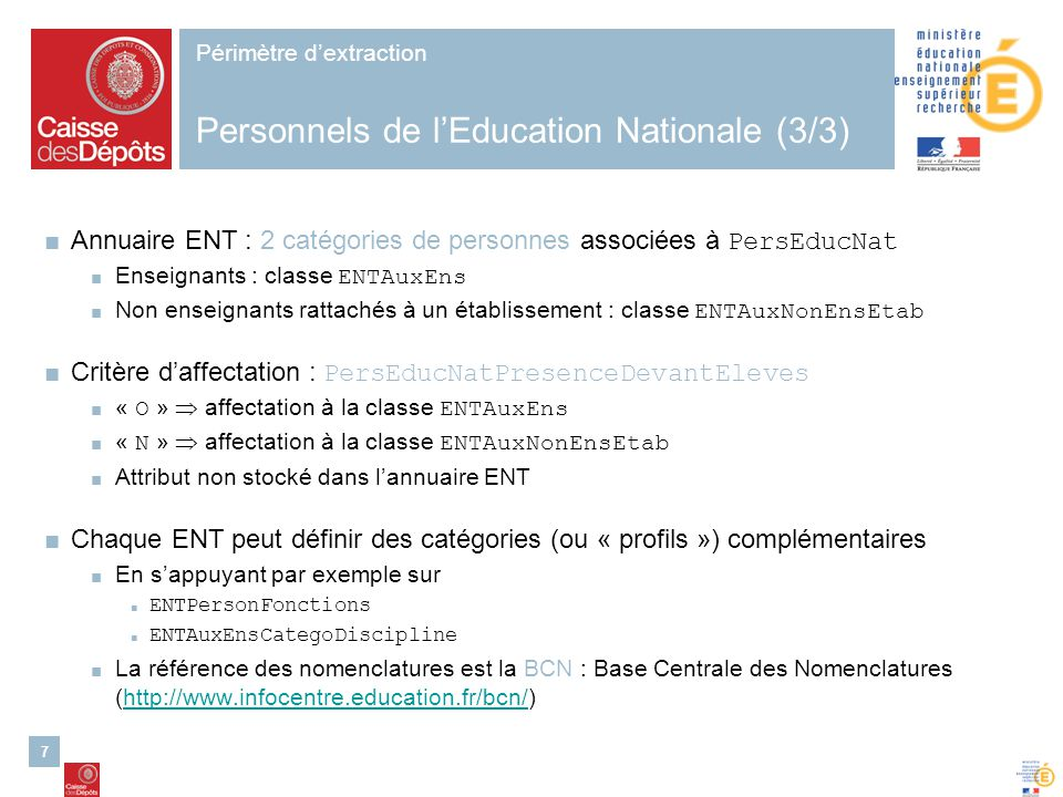 Périmètre d'extraction Personnels de l'Education Nationale (3/3)