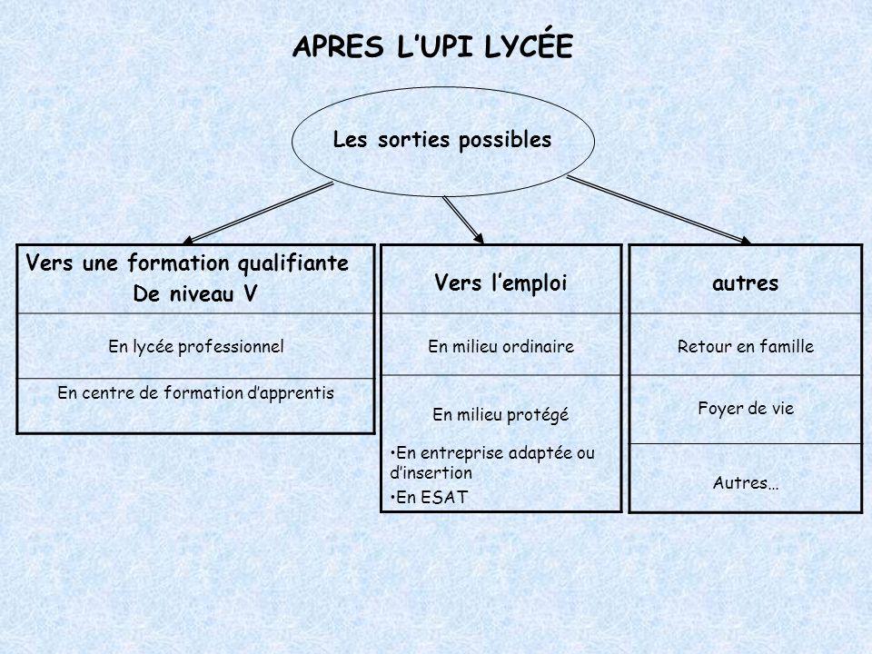 APRES L'UPI LYCÉE Les sorties possibles Vers une formation qualifiante