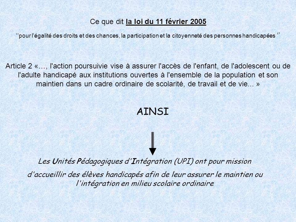 AINSI Ce que dit la loi du 11 février 2005