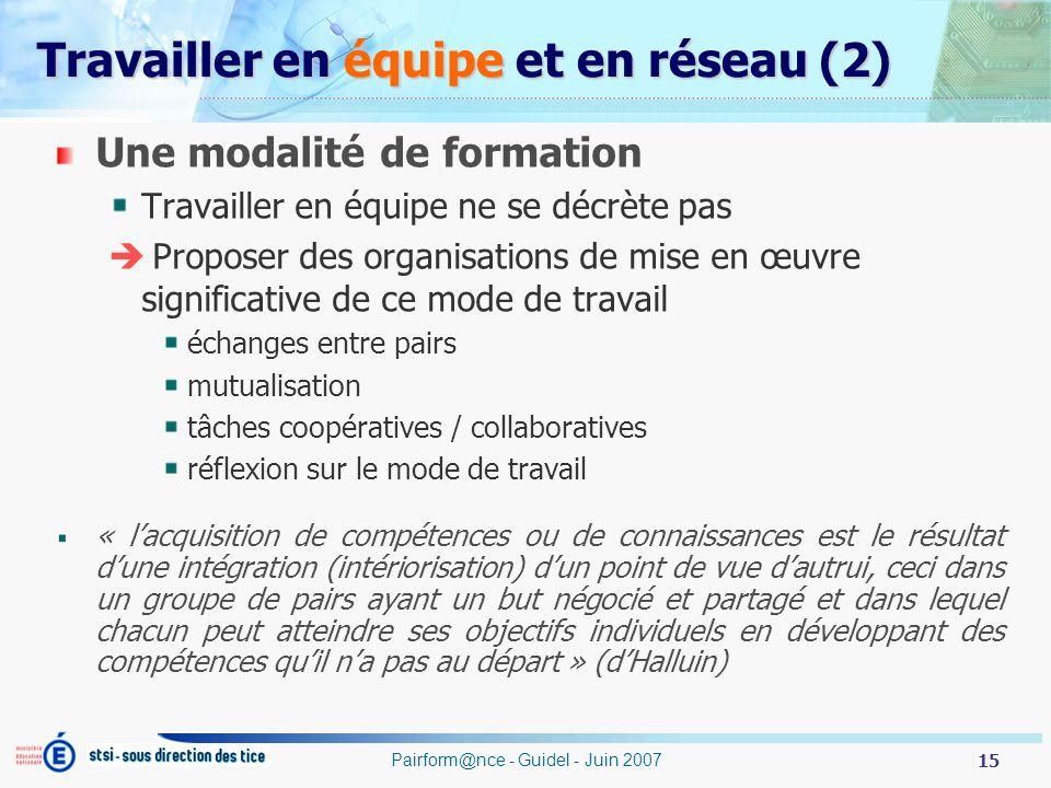 Travailler en équipe et en réseau (2)