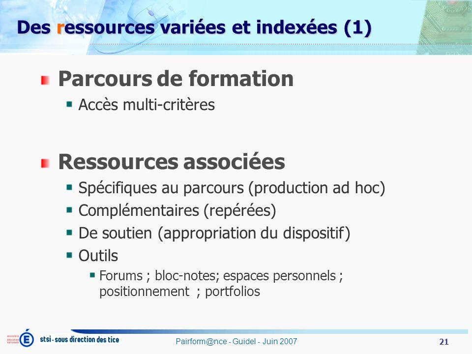 Des ressources variées et indexées (1)
