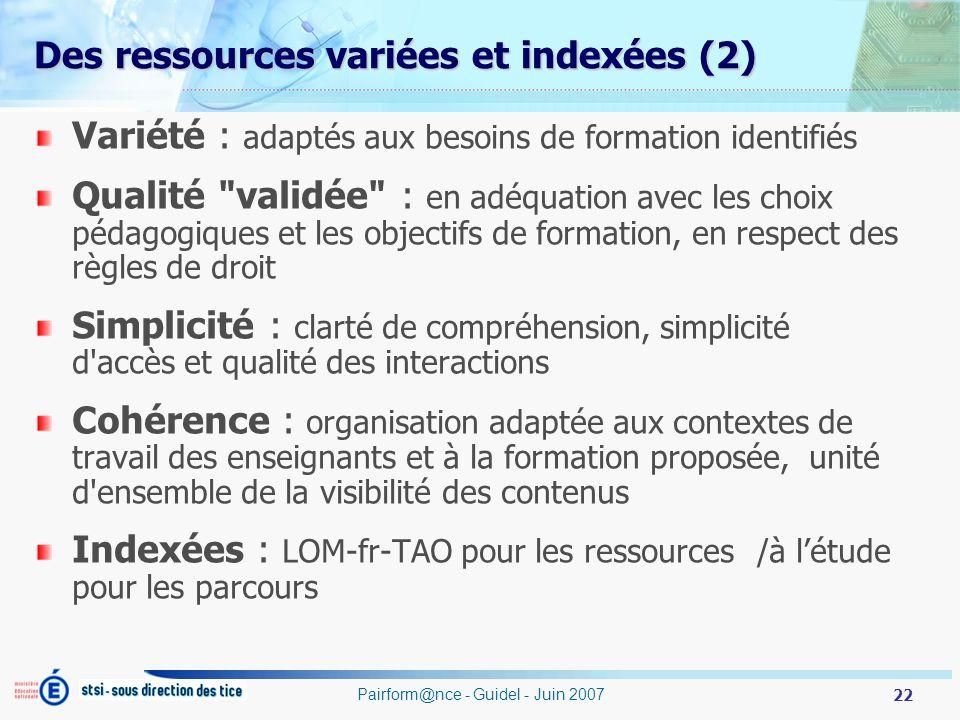 Des ressources variées et indexées (2)