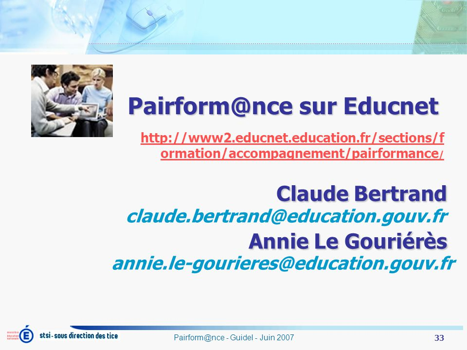 Pairform@nce sur Educnet