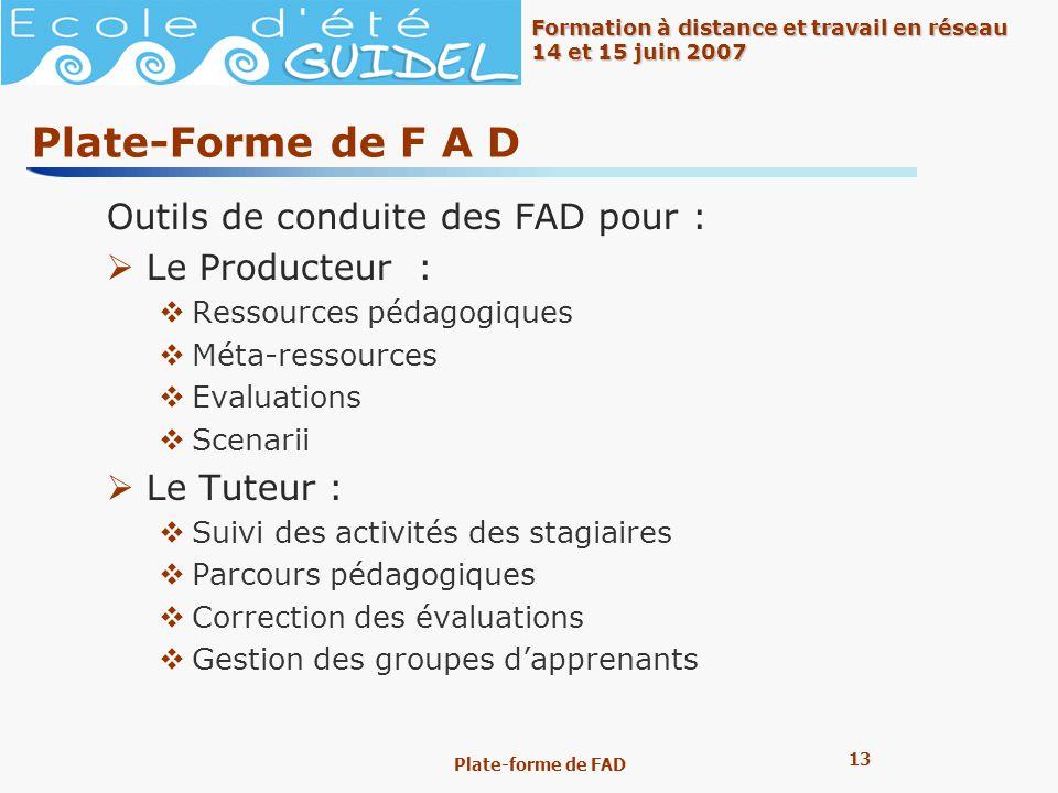 Plate-Forme de F A D Outils de conduite des FAD pour : Le Producteur :