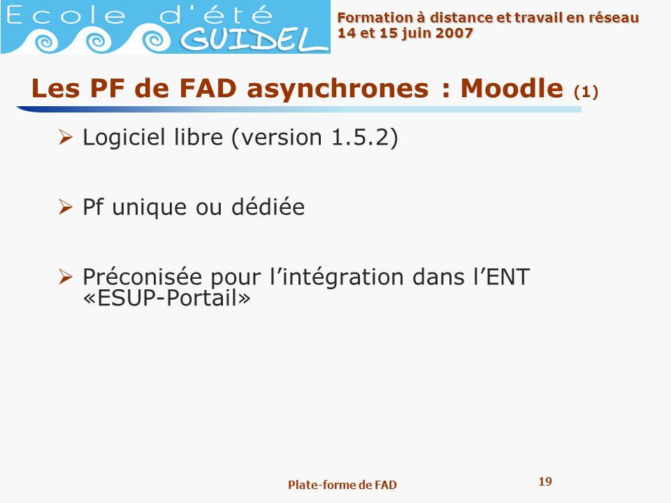 Les PF de FAD asynchrones : Moodle (1)