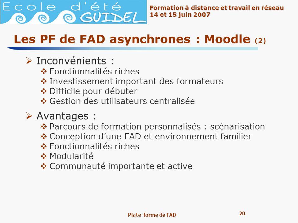 Les PF de FAD asynchrones : Moodle (2)