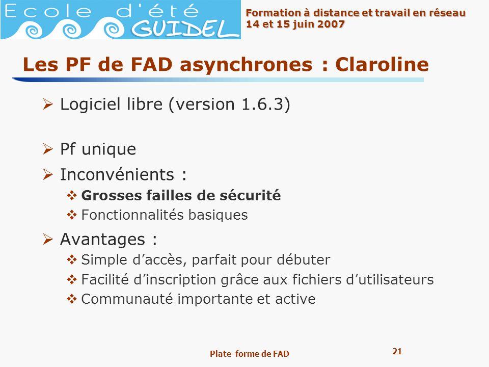 Les PF de FAD asynchrones : Claroline