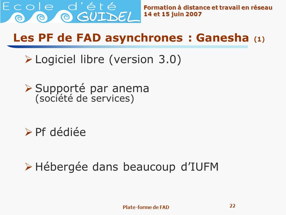 Les PF de FAD asynchrones : Ganesha (1)