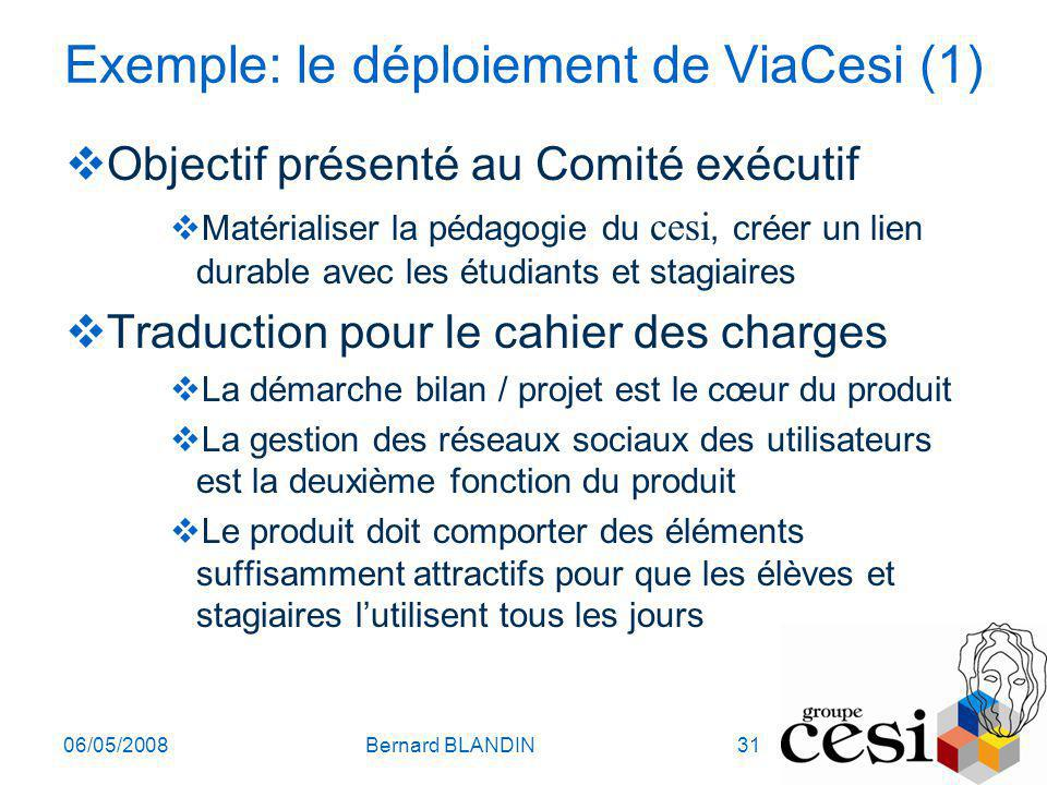 Exemple: le déploiement de ViaCesi (1)