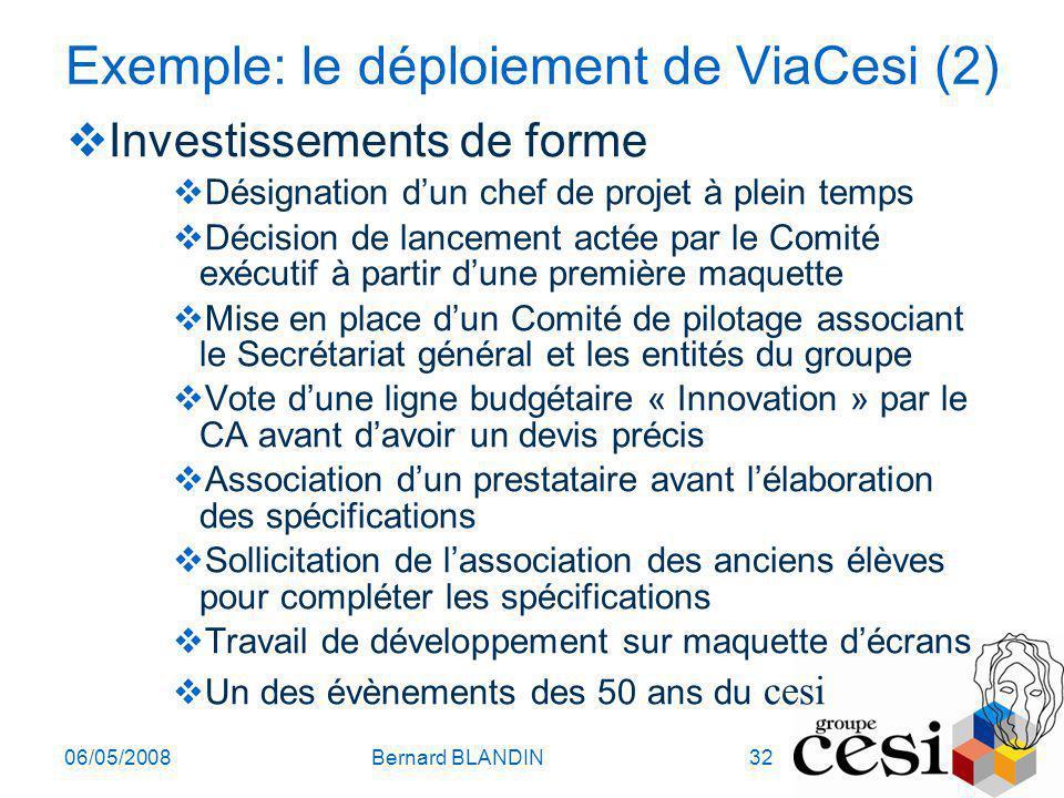 Exemple: le déploiement de ViaCesi (2)