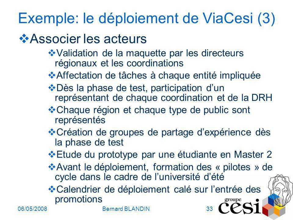 Exemple: le déploiement de ViaCesi (3)