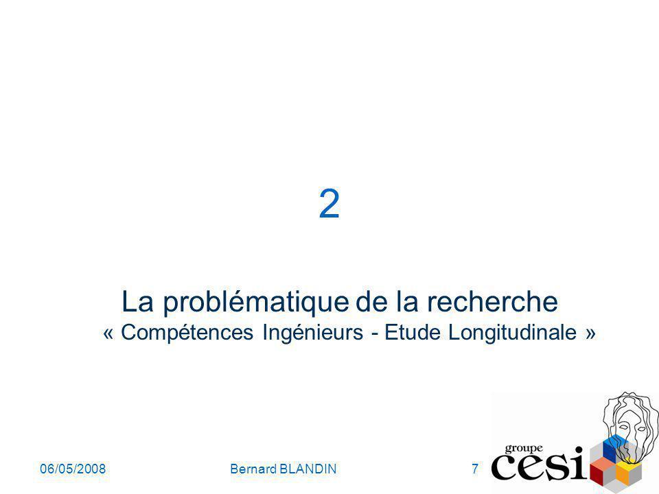 2 La problématique de la recherche « Compétences Ingénieurs - Etude Longitudinale » 06/05/2008.