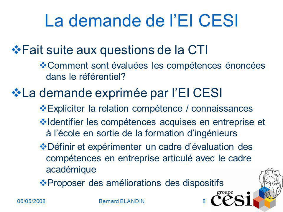 La demande de l'EI CESI Fait suite aux questions de la CTI