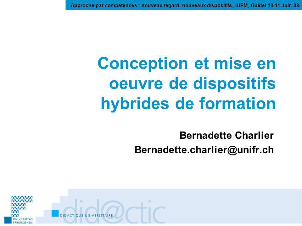Conception et mise en oeuvre de dispositifs hybrides de formation