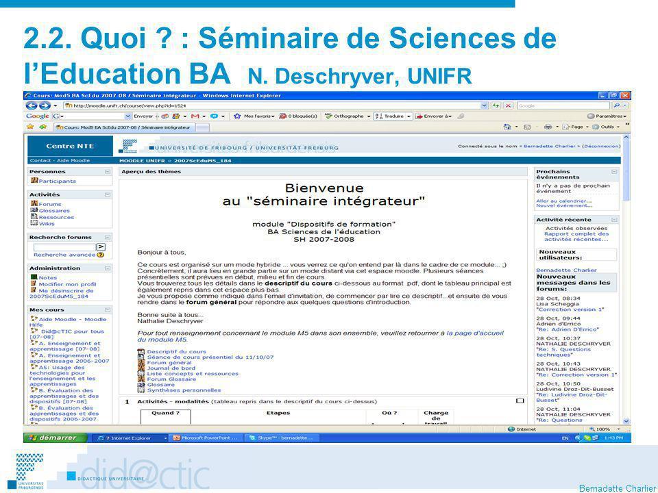 2. 2. Quoi. : Séminaire de Sciences de l'Education BA N