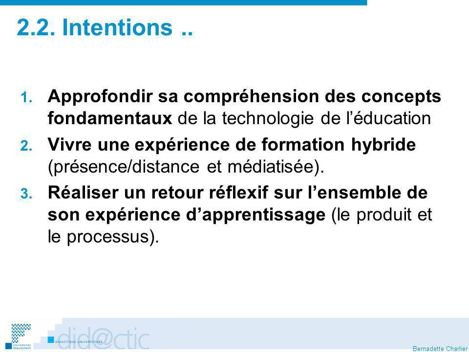 2.2. Intentions .. Approfondir sa compréhension des concepts fondamentaux de la technologie de l'éducation.