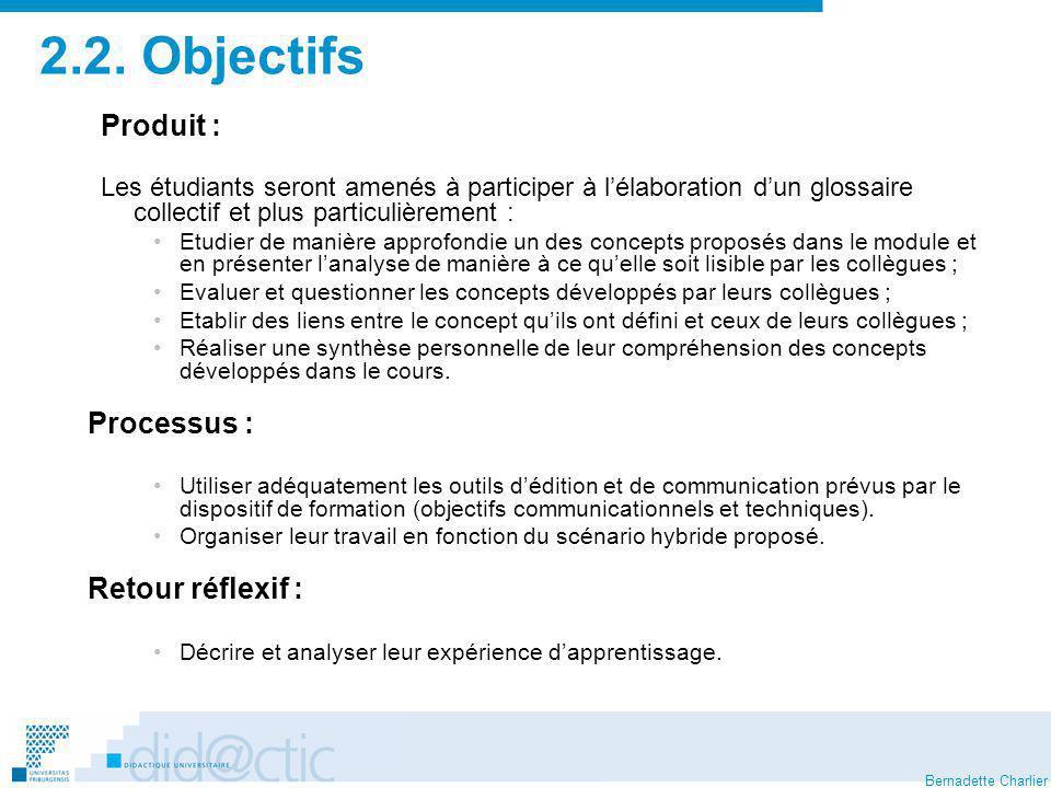 2.2. Objectifs Produit : Retour réflexif :