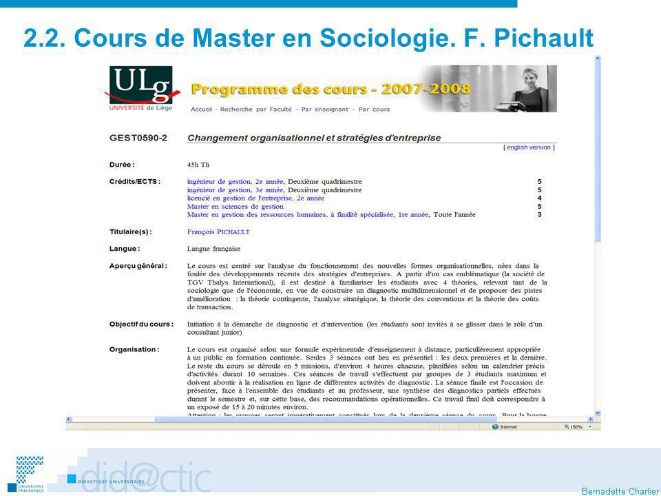 2.2. Cours de Master en Sociologie. F. Pichault