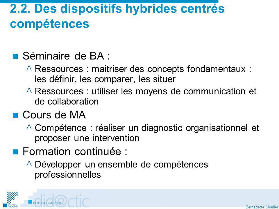 2.2. Des dispositifs hybrides centrés compétences