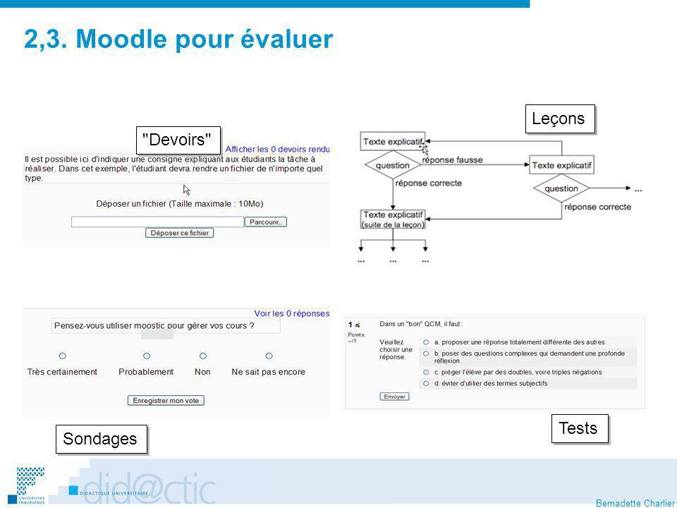 2,3. Moodle pour évaluer Leçons Devoirs Tests Sondages