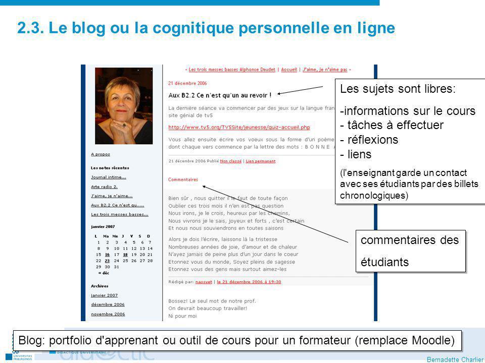 2.3. Le blog ou la cognitique personnelle en ligne