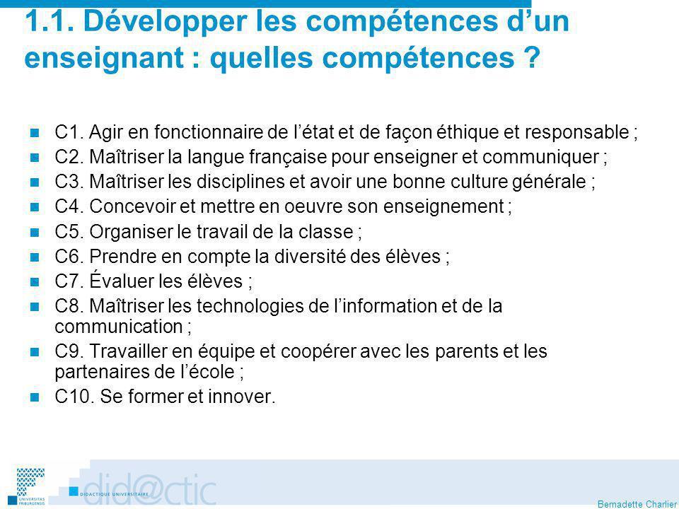 1.1. Développer les compétences d'un enseignant : quelles compétences