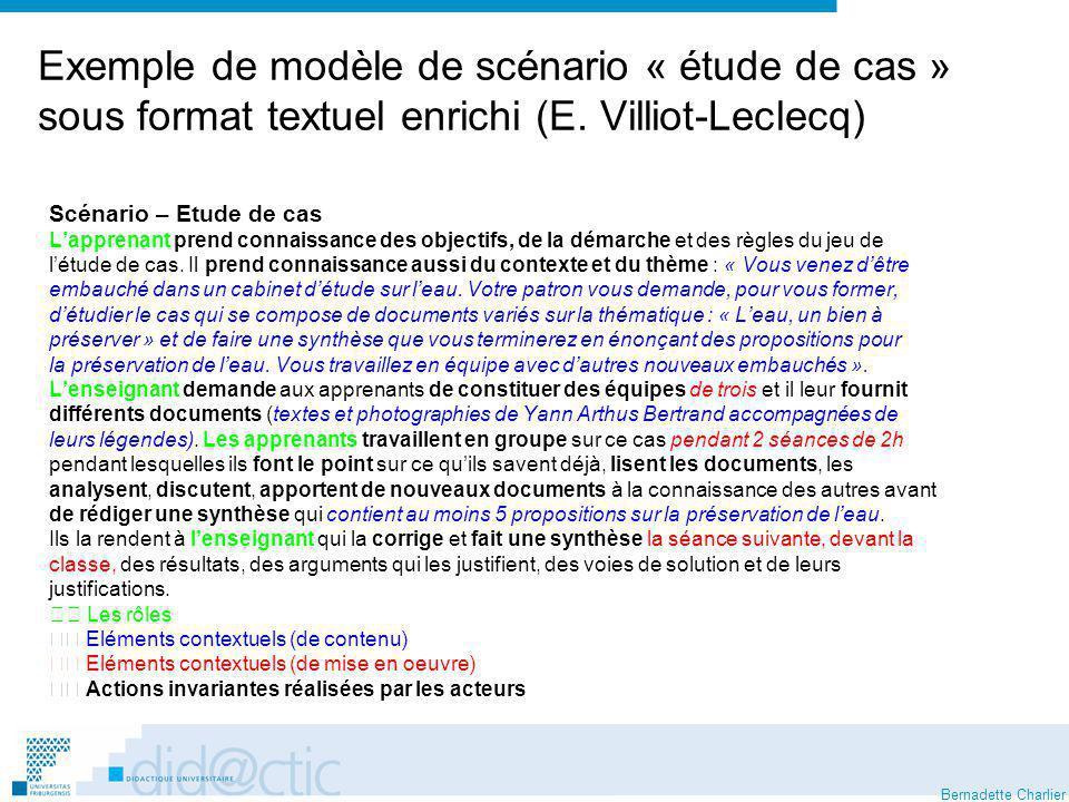 Exemple de modèle de scénario « étude de cas » sous format textuel enrichi (E. Villiot-Leclecq)