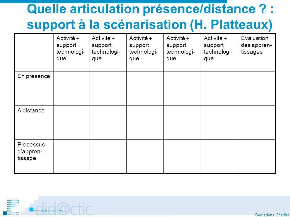 Quelle articulation présence/distance. : support à la scénarisation (H