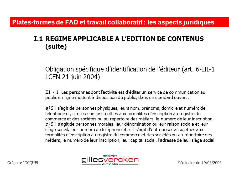 Plates-formes de FAD et travail collaboratif : les aspects juridiques
