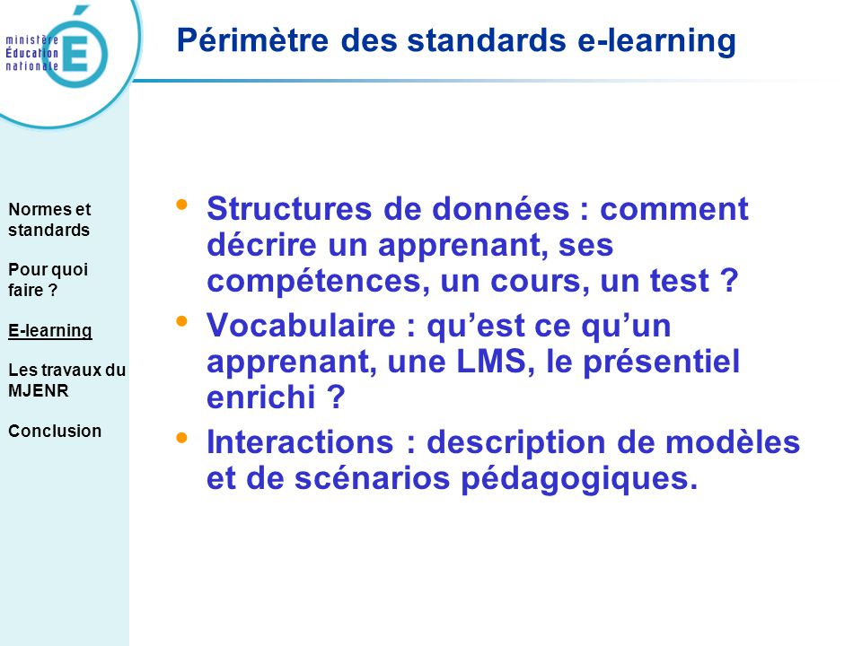 Périmètre des standards e-learning