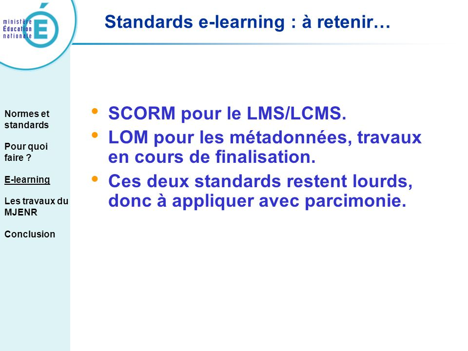Standards e-learning : à retenir…