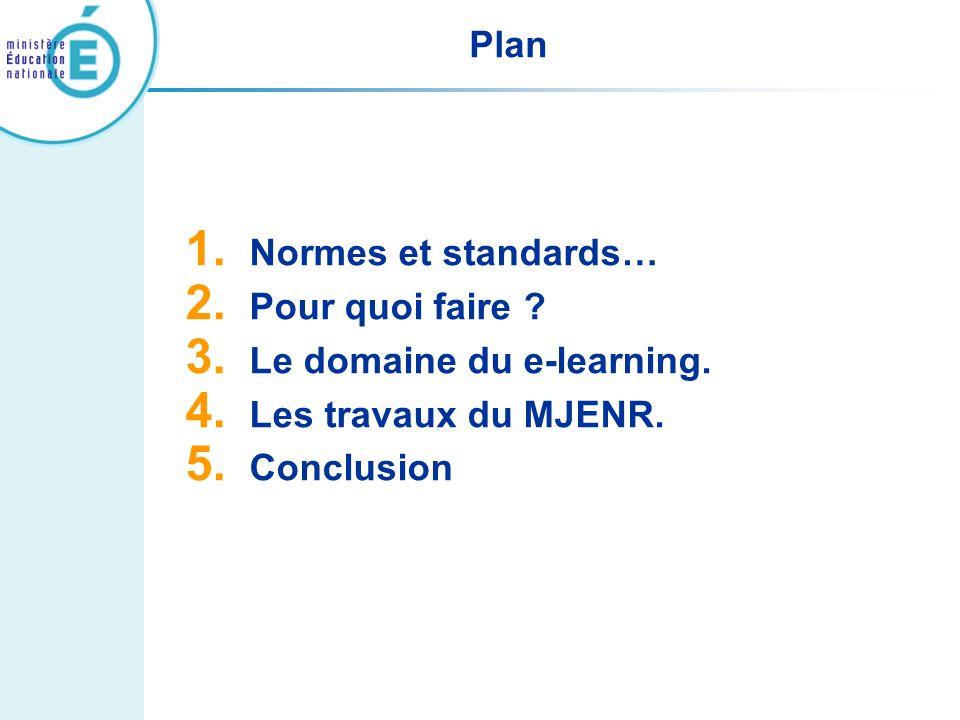 Plan Normes et standards… Pour quoi faire . Le domaine du e-learning.