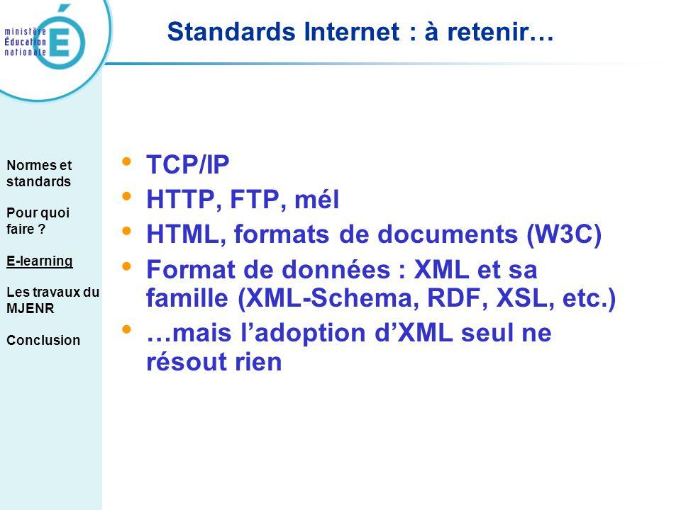 Standards Internet : à retenir…
