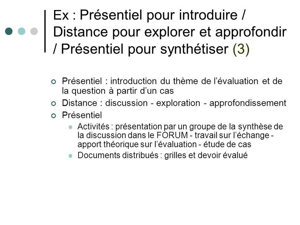 Ex : Présentiel pour introduire / Distance pour explorer et approfondir / Présentiel pour synthétiser (3)