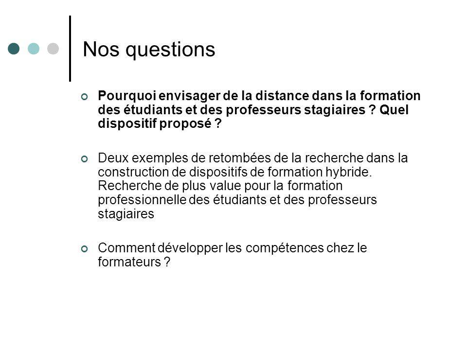 Nos questions Pourquoi envisager de la distance dans la formation des étudiants et des professeurs stagiaires Quel dispositif proposé