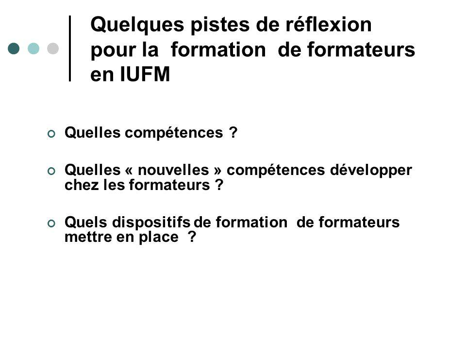 Quelques pistes de réflexion pour la formation de formateurs en IUFM