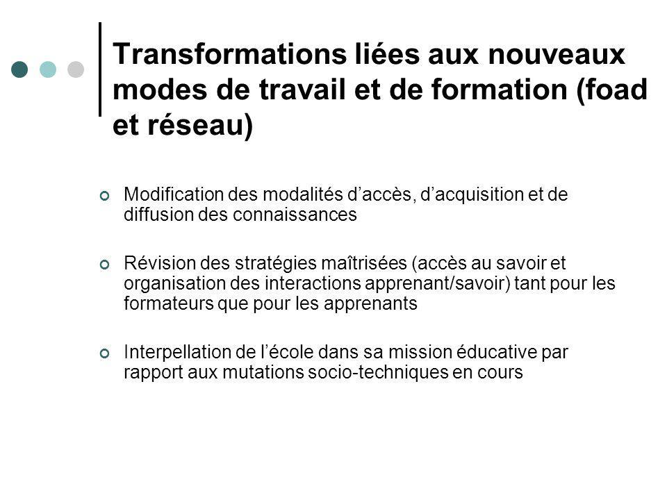 Transformations liées aux nouveaux modes de travail et de formation (foad et réseau)