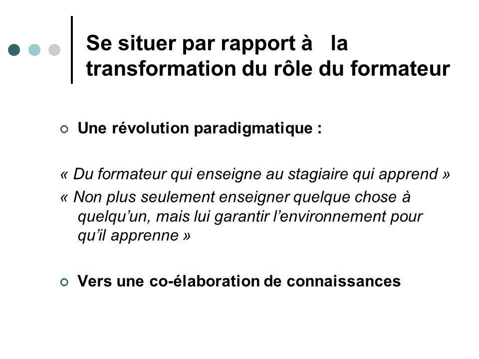 Se situer par rapport à la transformation du rôle du formateur