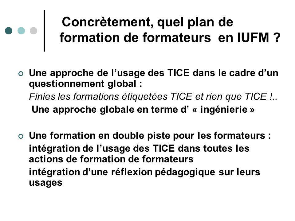 Concrètement, quel plan de formation de formateurs en IUFM