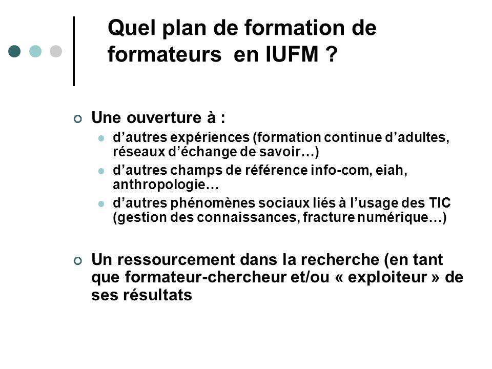 Quel plan de formation de formateurs en IUFM