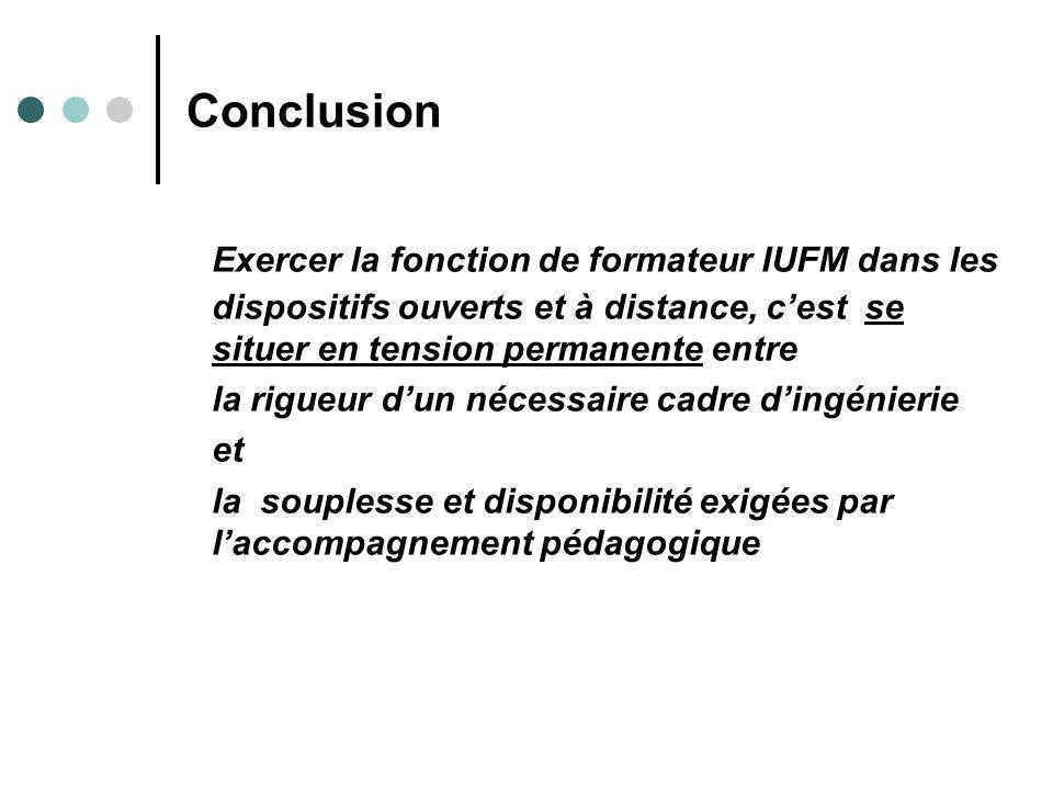Conclusion Exercer la fonction de formateur IUFM dans les dispositifs ouverts et à distance, c'est se situer en tension permanente entre.