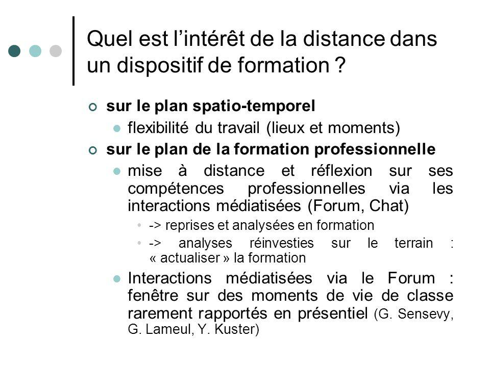 Quel est l'intérêt de la distance dans un dispositif de formation