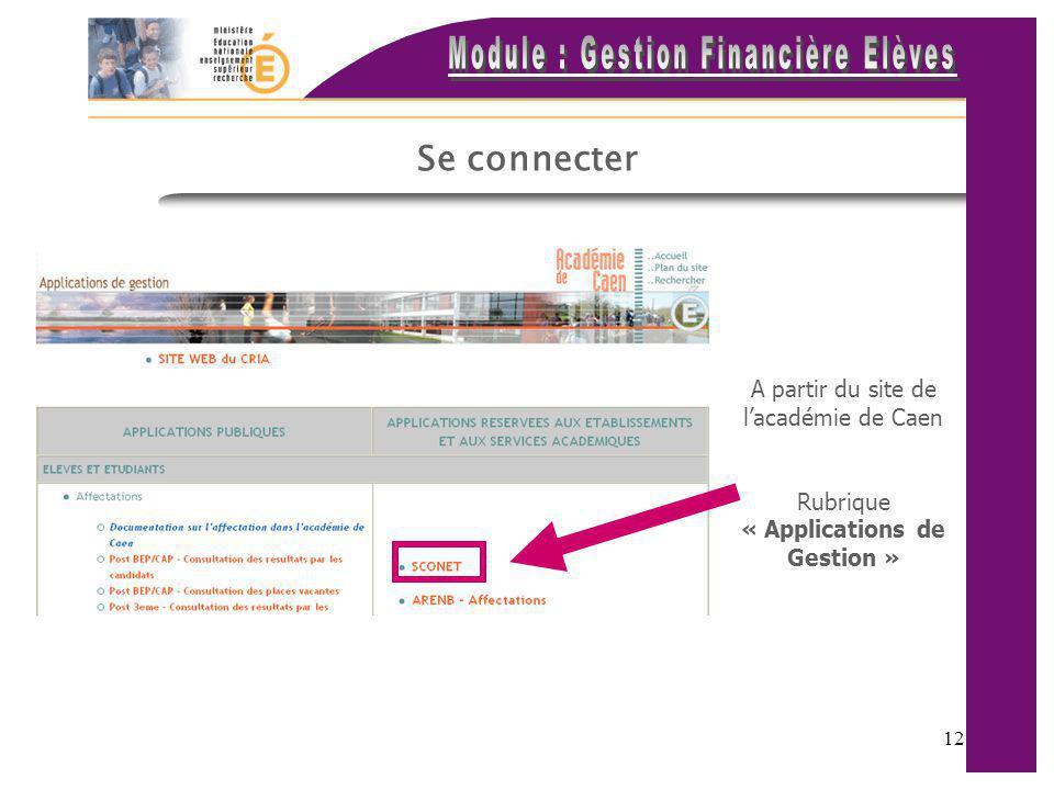 Se connecter A partir du site de l'académie de Caen