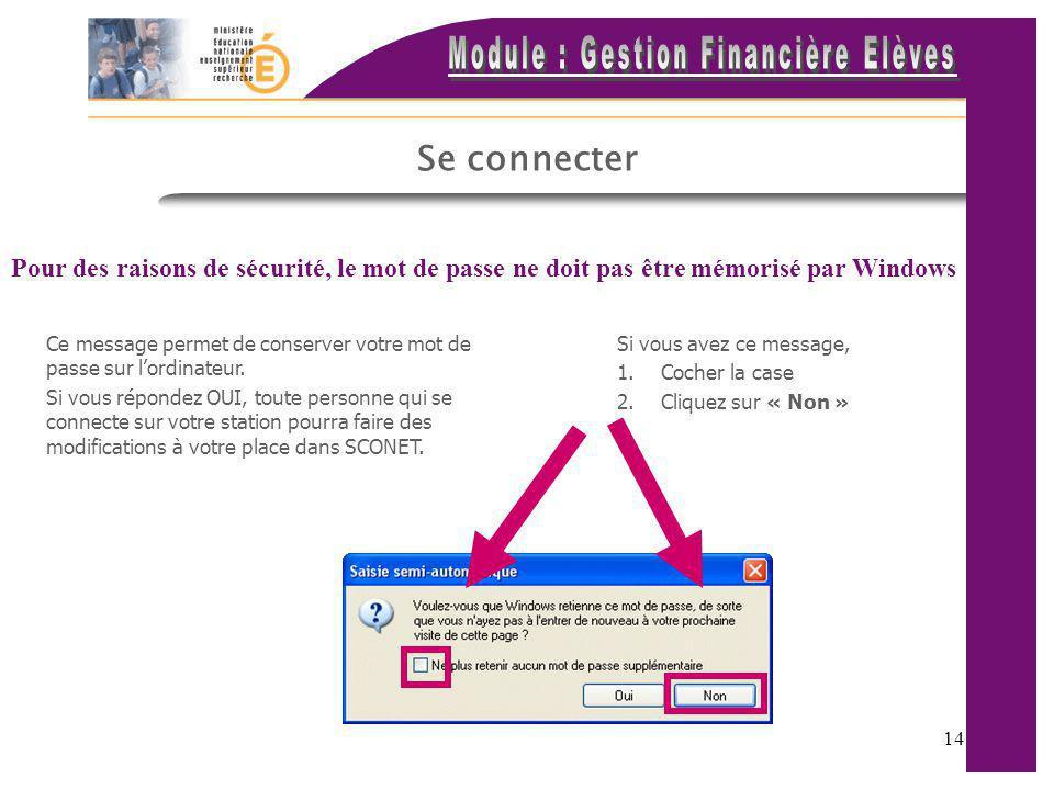 Se connecter Pour des raisons de sécurité, le mot de passe ne doit pas être mémorisé par Windows.