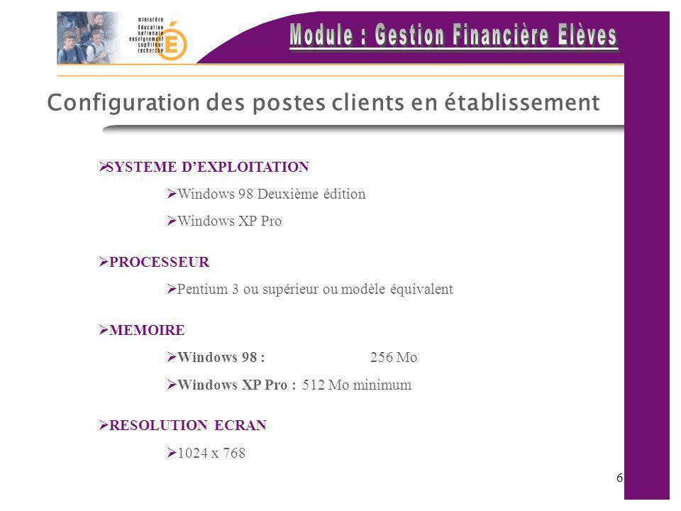 Configuration des postes clients en établissement