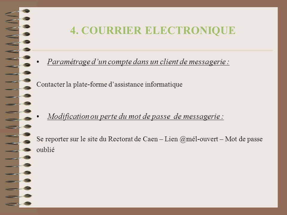 4. COURRIER ELECTRONIQUE