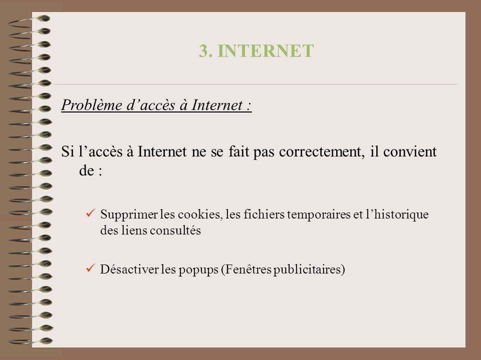 3. INTERNET Problème d'accès à Internet :