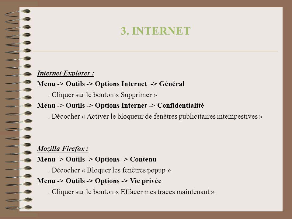 3. INTERNET Internet Explorer :