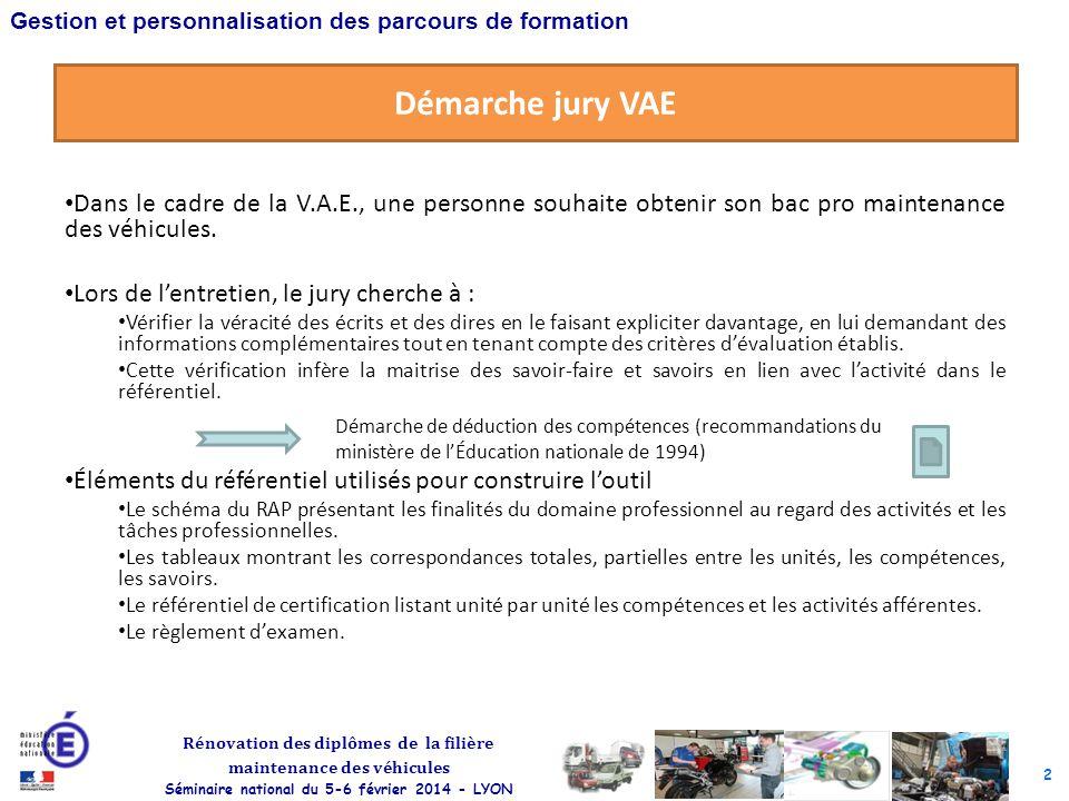 Démarche jury VAE Dans le cadre de la V.A.E., une personne souhaite obtenir son bac pro maintenance des véhicules.