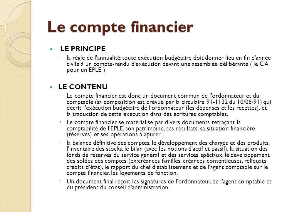 Le compte financier LE PRINCIPE LE CONTENU